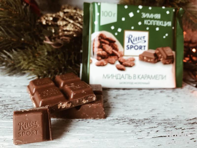 Шоколад молочный Ritter Sport Зимняя Коллекция Миндаль в карамели (100 г)
