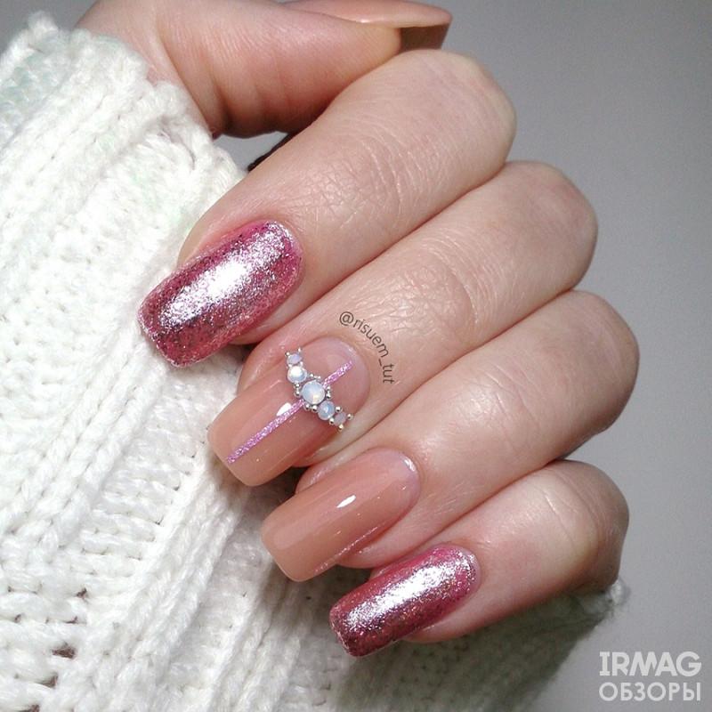 Лента для дизайна для ногтей El Corazon с блестками 1 мм (20 м) - 167 Розовая