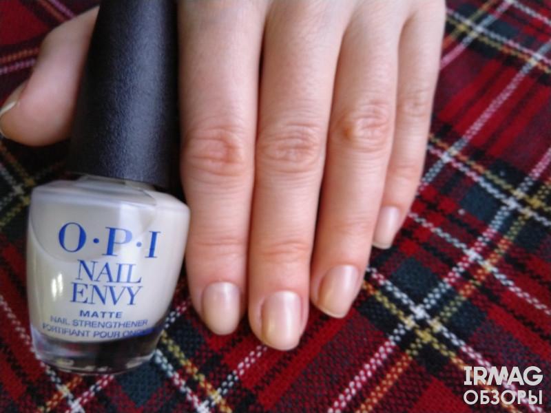 обзор на средство укрепляющее для ногтей OPI Nail Envy Nail Strengthener Matte Formula Матовый эффект