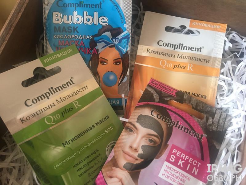 маски от Compliment: распаривающая, очищающая, смягчающе-успокаивающая, освежающа