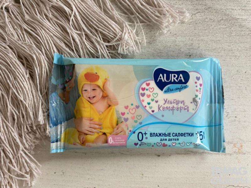 Влажные салфетки Aura Детские Ultra Comfort Алоэ и витамин Е (15 шт.)
