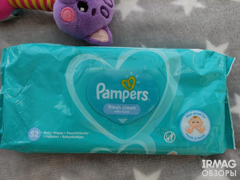 Обзор на влажные салфетки детские Pampers Fresh Clean (52 шт.)
